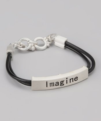Silver & Black 'Imagine' Bar Bracelet
