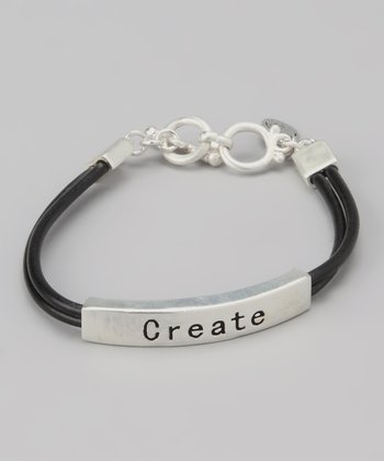 Silver & Black 'Create' Bar Bracelet