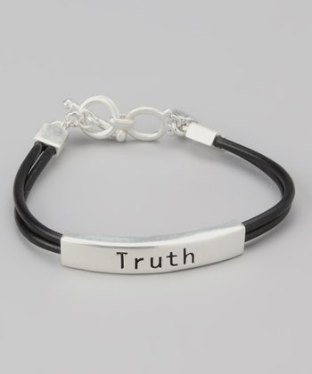 Silver & Black 'Truth' Bar Bracelet