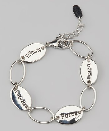 Silver 'Strength' Language Bracelet