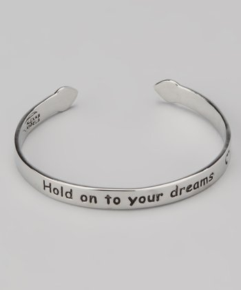 Silver 'Hold Onto Your Dreams' Children's Cuff