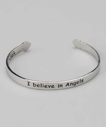 Silver 'I Believe in Angels' Cuff