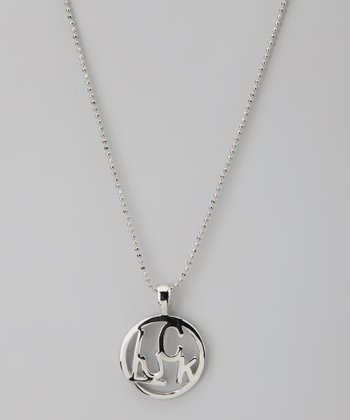 Silver 'Luck' Circle Word Necklace