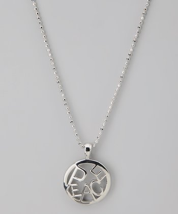 Silver 'Peace' Circle Word Necklace