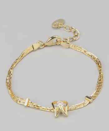 Gold Angel Wings Swarovski Crystal Silhouette Bracelet