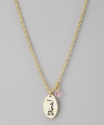 Gold & Pink 'Shine!' Pendant Necklace