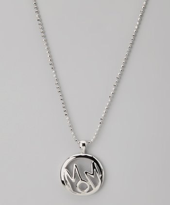 Silver 'Mom' Circle Word Necklace