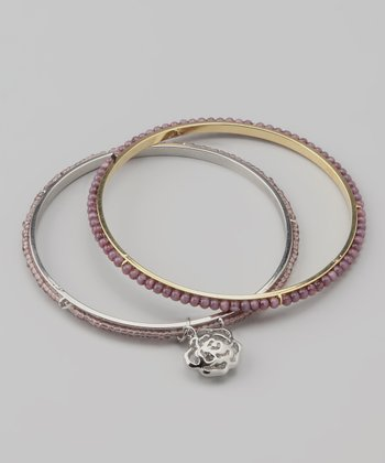 Purple Amethyst Rose Charm Beaded Bangle Set