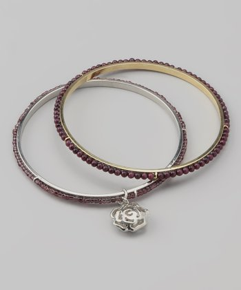 Wine Rose Charm Beaded Bangle Set