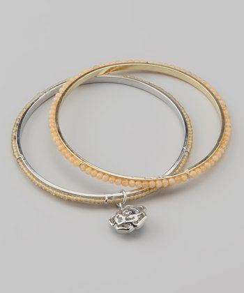 Light Amber Rose Charm Beaded Bangle Set