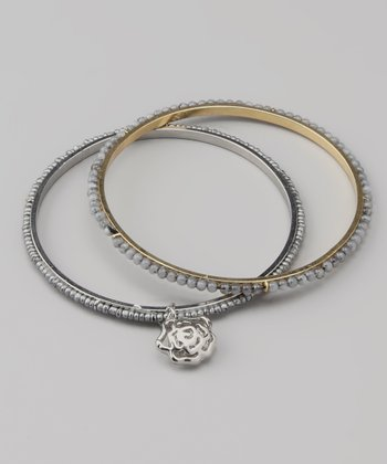 Light Gray Rose Charm Beaded Bangle Set