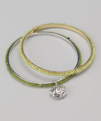 Green Rose Charm Beaded Bangle Set