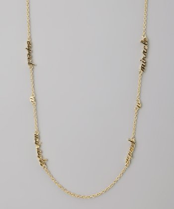 Gold 'Expect a Miracle' Three Word Necklace