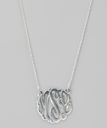 Sterling Silver Small Monogram Pendant Necklace