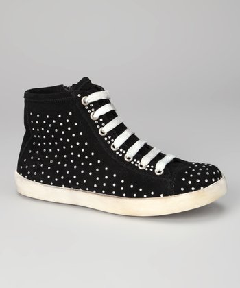 Black Suede Coin Hi-Top Sneaker