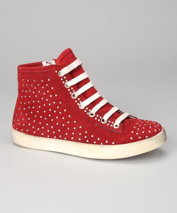 Red Suede Coin Hi-Top Sneaker