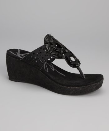 Black Electra Wedge Sandal