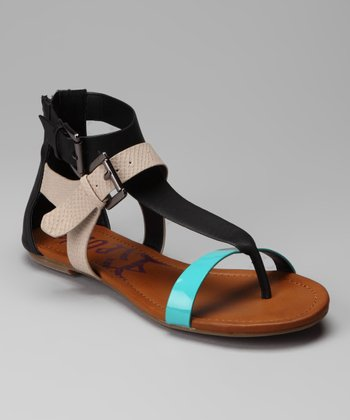 Black & Teal Odeon Sandal
