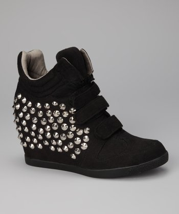 Black Suede Yin Wedge Sneaker