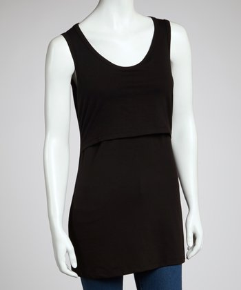 Black Extra-Long Nursing Tank - Women