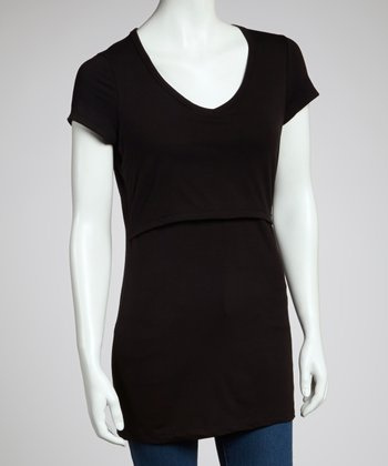 Black Extra-Long Nursing Tee
