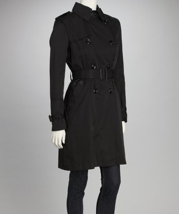 Black Double Breasted Classic Trench Coat