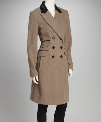 Sand Double Breasted Leather Trim Wool-Blend Coat