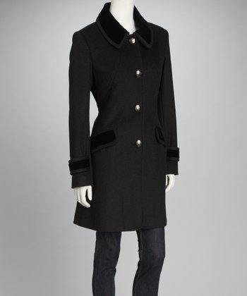 Charcoal Contrast Collar Wool-Blend Coat