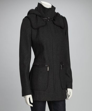 Charcoal Wool-Blend Hooded Coat