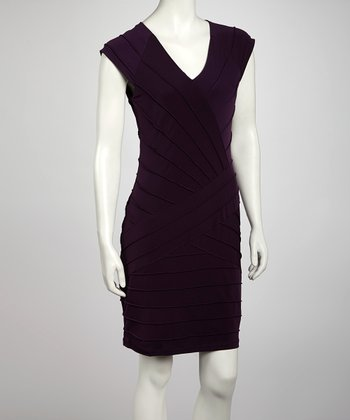 Eggplant Baby Pin Tuck Cap-Sleeve Dress