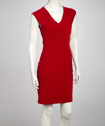 Red Baby Pin Tuck Cap-Sleeve Dress