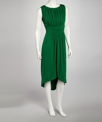 Emerald Draped Hi-Low Dress