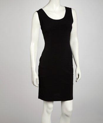Black Seamed Sheath Dress