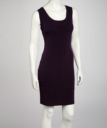 Eggplant Seamed Sheath Dress