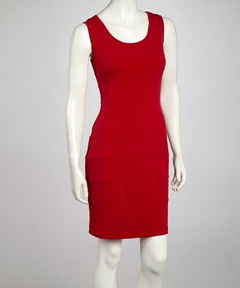 Red Seamed Sheath Dress