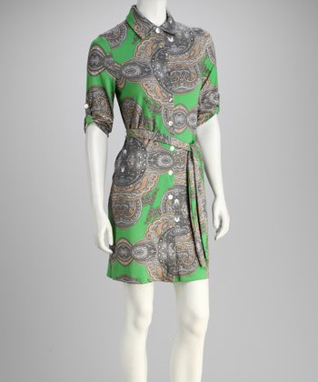 Lime Medallion Shirt Dress
