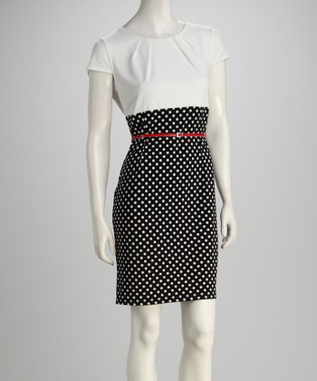 Navy & White Polka Dot Belted Dress