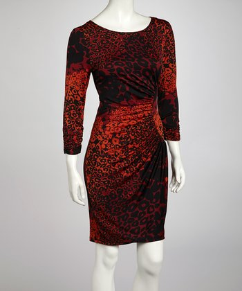 Rust Animal Drape Three-Quarter Sleeve Dress
