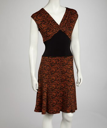 Brown Abstract Cap-Sleeve Dress