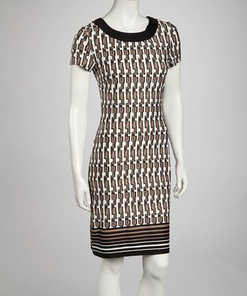 Black & Beige Tribal Sheath Dress