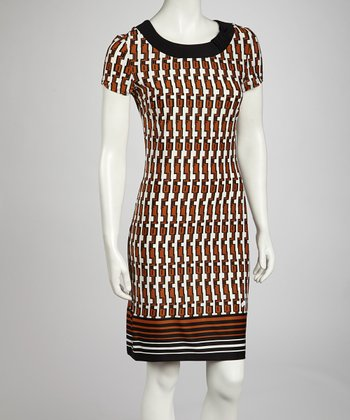Black & Light Brown Tribal Sheath Dress