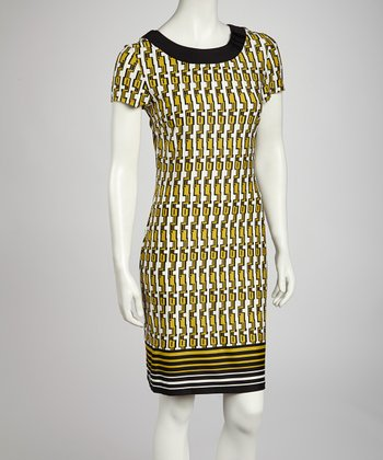 Black & Yellow Tribal Sheath Dress