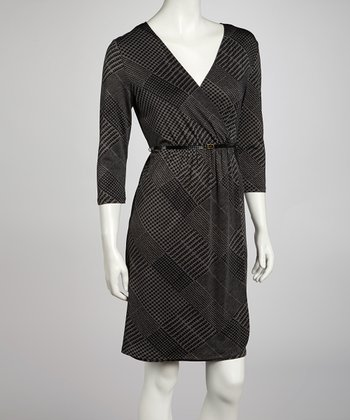 Black & Charcoal Glen Belted Surplice Dress