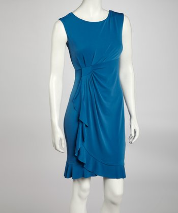 Blue Side Drape Sleeveless Dress