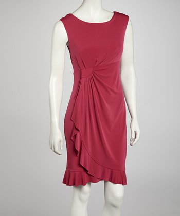 Boysenberry Side Drape Sleeveless Dress