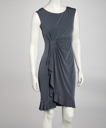 Gray Side Drape Sleeveless Dress
