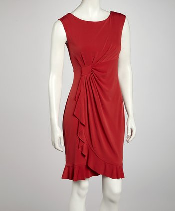 Red Side Drape Sleeveless Dress