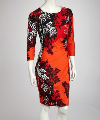 Red Forest Three-Quarter Sleeve Dress