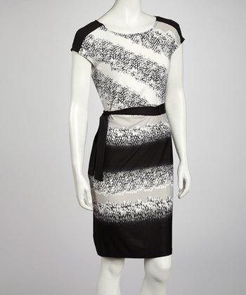 Black & Gray Snakeskin Cap-Sleeve Dress