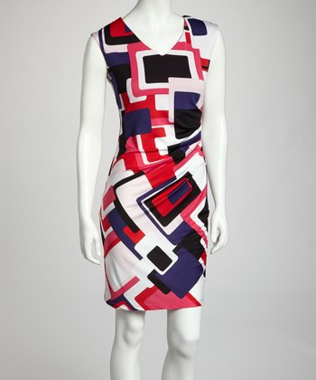 Pink & Red Geometric Color Block Wrap Dress